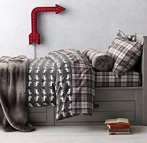 moose flannel u0026 lodge plaid bedding collection 24 169 restoration hardware