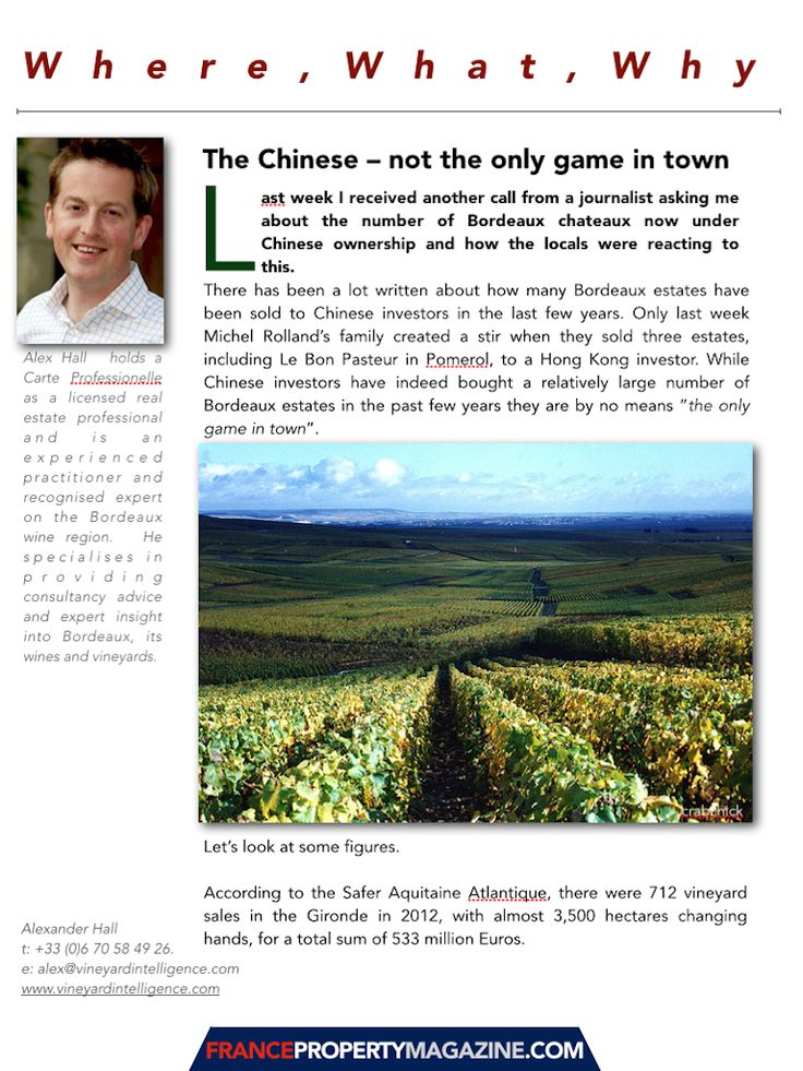 The Chinese are certainly buying Chateau vineyards but other UHNWIs are too