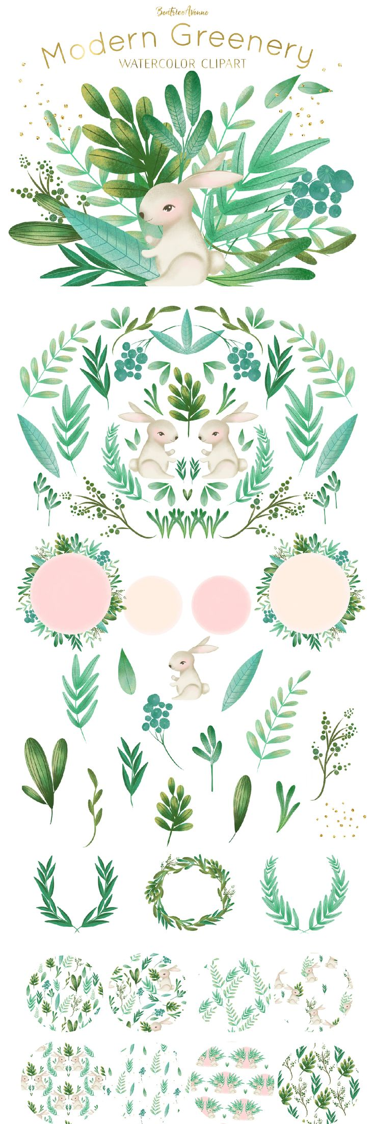 Woodland rabbit clipart set