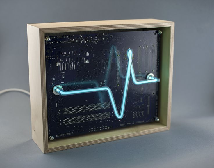 spectro-box / wave - electronics, handmade neon tube, wood frame