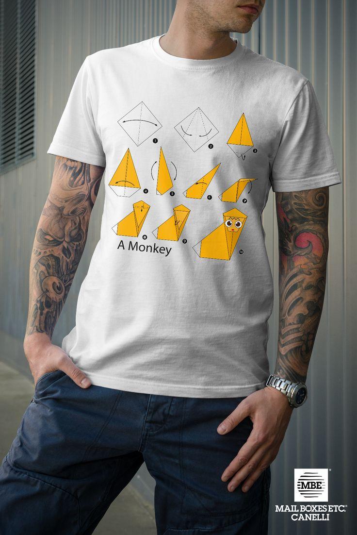 T-shirt origami, Monkey! Per info: mbe644@mbe.it 0141 822675