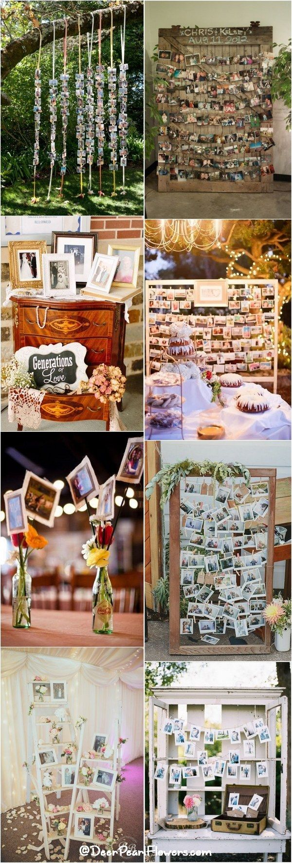 Rustic country wedding photo display ideas / http://www.deerpearlflowers.com/wedding-photo-display-ideas/