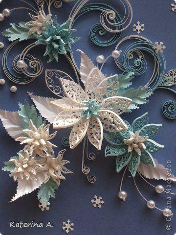 Картина панно рисунок День рождения Квиллинг Снежные цветы Бумага фото 5