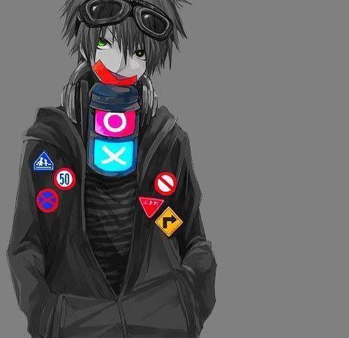Black and white gamer anime boy psp system colorful yet - Anime gamer boy ...
