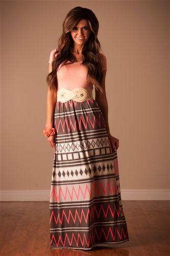 Pink Gray Aztec Maxi Dress, chevron maxi, modest shirt, maxi skirt, trendy modest clothing, modest clothing, modest dress, modest dresses, dresses for church, trendy modest clothing, boutique clothes, affordable boutique clothes, mikarose