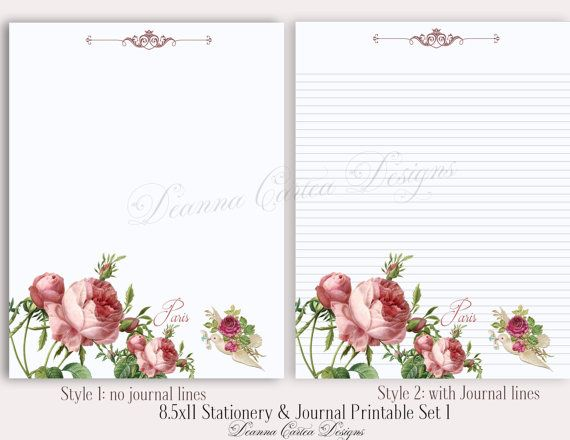 8.5x11 Stationery and Journal note Printable Set 1 by DeannaCartea
