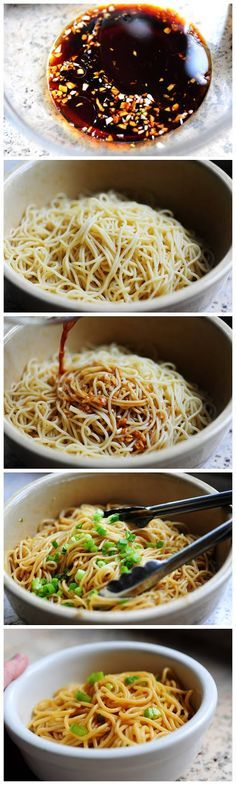 On l'oublie parfois : de simples nouilles chinoises avec une sauce soja, de l'huile de sésame, de la ciboule et de la coriandre : Simple Sesame Noodles - Vegan