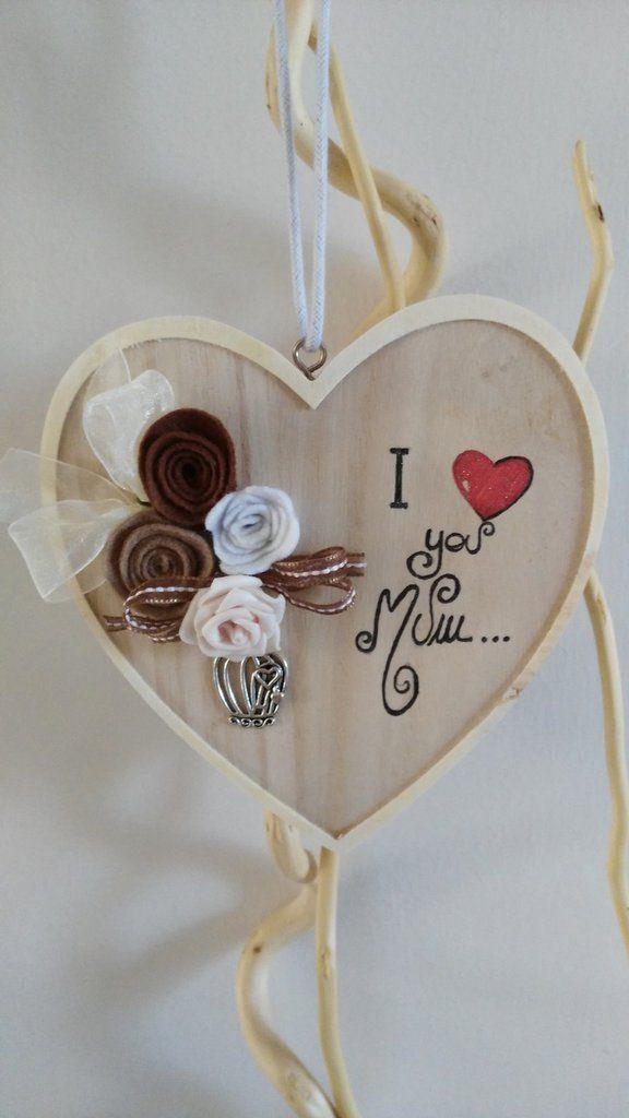 festa della mamma cuore shabby chic in legno e pannolenci personalizzato, by Dolcericordo, 10,90 € su misshobby.com