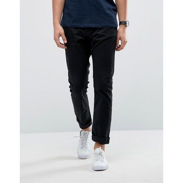 Only & Sons Slim Fit Chino (625 MXN) ❤ liked on Polyvore featuring men's fashion, men's clothing, men's pants, men's casual pants, black, mens tall pants, mens chino pants, mens slim fit pants, mens chinos pants and mens slim pants