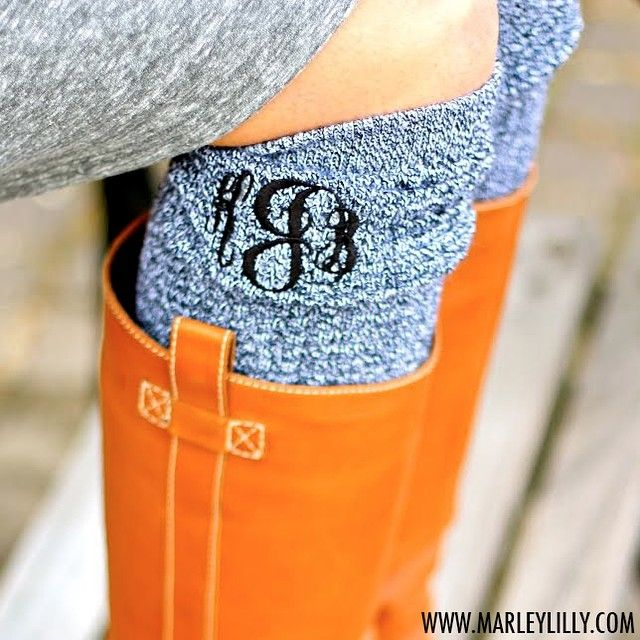 monogrammed boot warmers for the winter thanks to Marley Lilly! In Love!