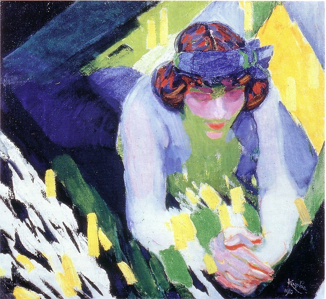The Blue Ribbon, 1910 František Kupka (1871-1927) was a Czech painter and graphic artist. He was a pioneer and co-founder of the early phases of the abstract art movement and Orphic cubism (Orphism. This painting shows the combination of Austrian fin-de-siècle motifs with the early avant-garde exploration of form and the depiction of movement, which very soon led him to abstraction.