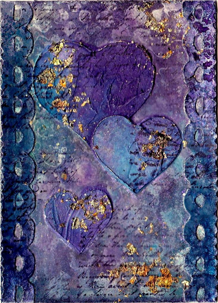 Artful Evidence: ATC - Hearts ... love the wonderful shades of blue and purple along with the gold
