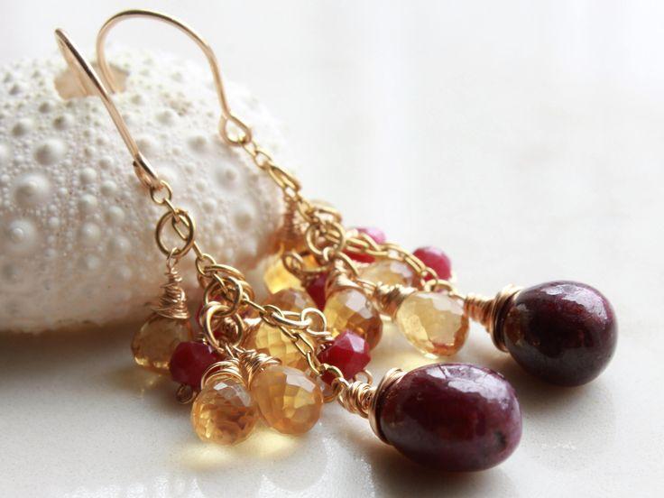 Ruby Earrings, Citrine Earrings, Goldfill wire wrap, red gemstone, yellow gemstone, cluster earrings, July birthstone, November birthstone by AliraTreasures on Etsy