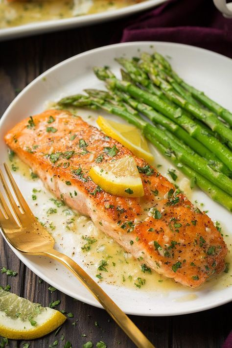 Flavorful, easy to make salmon with a simple garlic lemon butter sauce. Seared i…