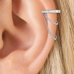 Maria Tash 18k gold and diamond cartilage chain earring