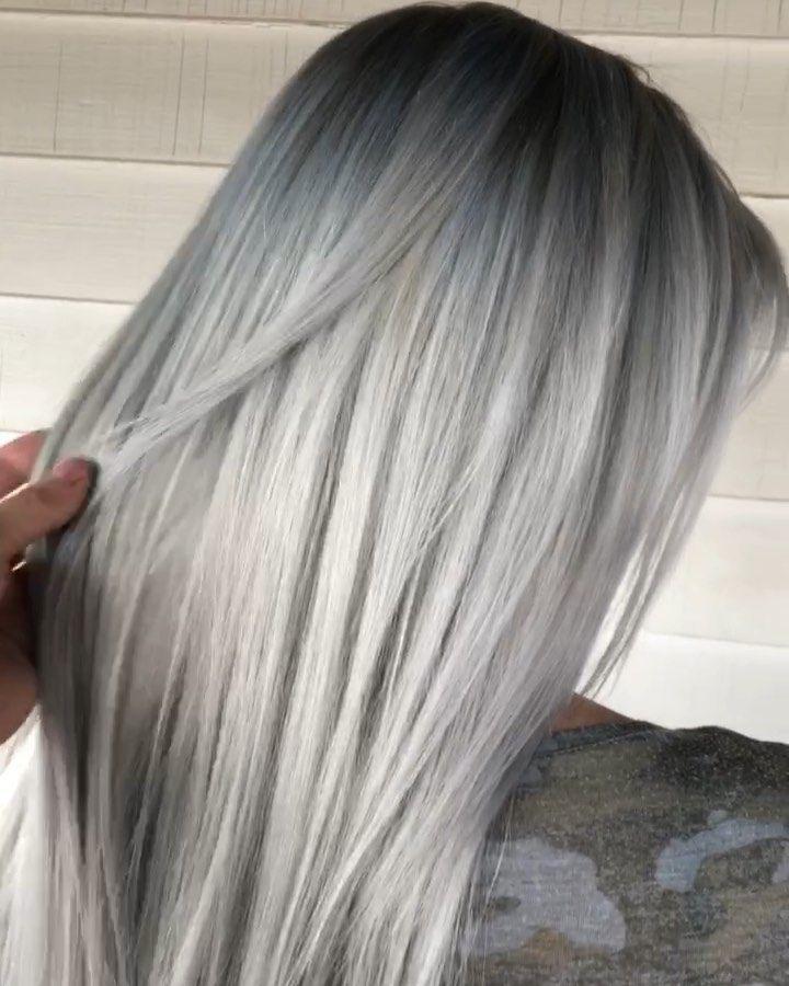 Platinum Blonde Balayage Pastel Silver Ash Blonde Balayage Ashy