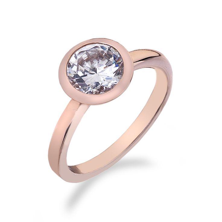 Stříbrný prsten Hot Diamonds Emozioni Riflessi Rose Gold