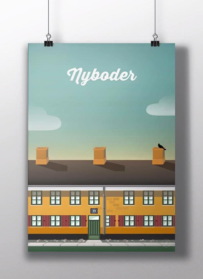 Nyboder i kbh. poster, design, art, illustration, adobe, artwork, Denmark