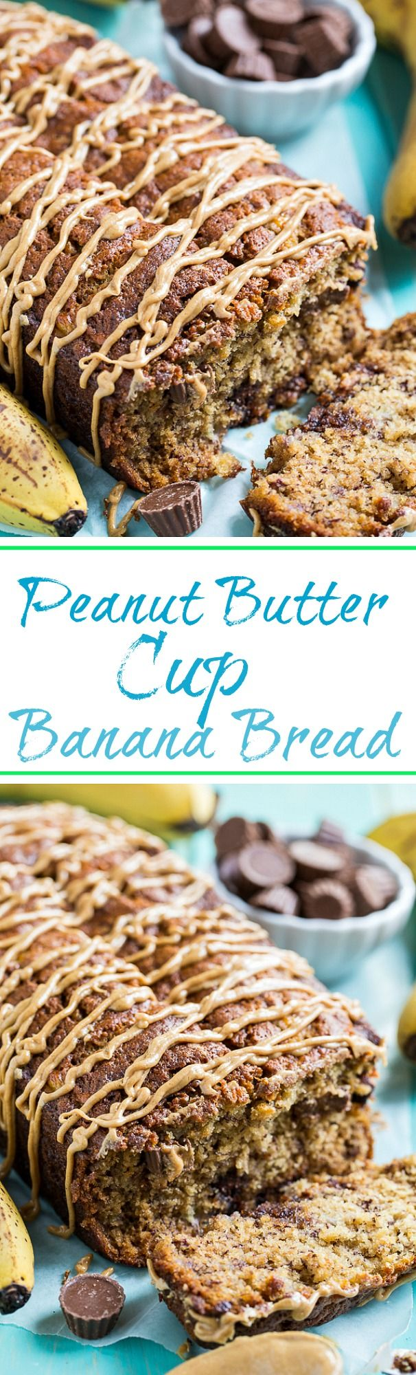 Peanut Butter Cup Banana Bread is full of chocolate and peanut butter. A full 1 1/2 cups of mini Reese's Peanut Butter Cups are added to the batter and for even more yumminess a peanut butter glaze is drizzled on top.