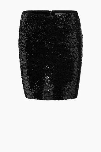 Esprit / Glamoureuze, fluwelen rok met pailletjes velvet skirt black with sequins