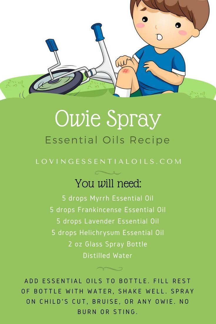 DIY Owie Spray On Essential Oil Recipe | Myrrh Oil | Frankincense Oil | Helichrysum Oil | Lavender Oil | Homemdae Cut Cleaner | No Sting or Burn