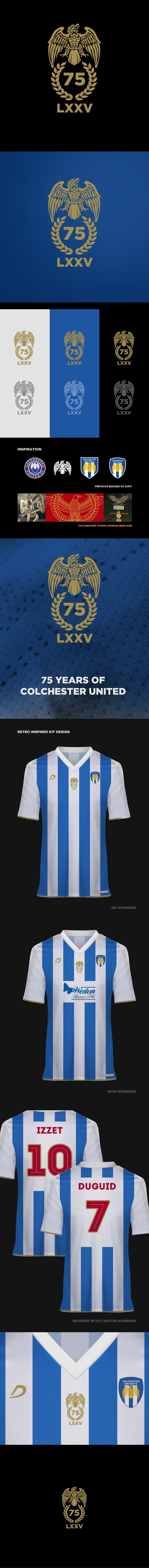 A logo and kit design to celebrate 75 years of Colchester United