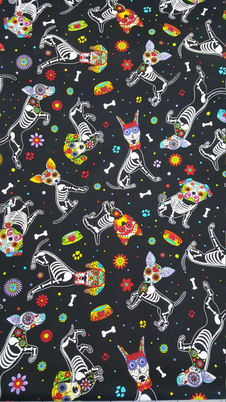 cotton Quilting fabric by the yard by SneezeWeedsStudio Halloween Wallpaper Iphone, Holiday Wallpaper, Halloween Backgrounds, Wallpaper Iphone Cute, Cute Wallpapers, Wallpaper Backgrounds, Wallpaper Gatos, Skull Wallpaper, Pattern Wallpaper