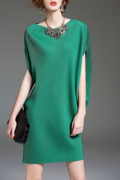 Eveda.cc Green Batwing Sleeve Mini Shift Dress | Mini Dresses at DEZZAL