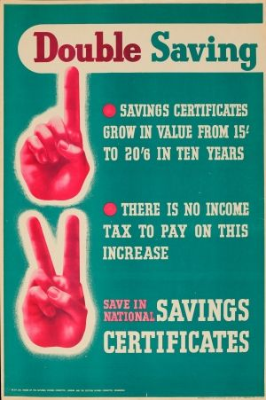 Double Saving WWII 1940s - original vintage World War Two national savings certificates poster listed on AntikBar.co.uk