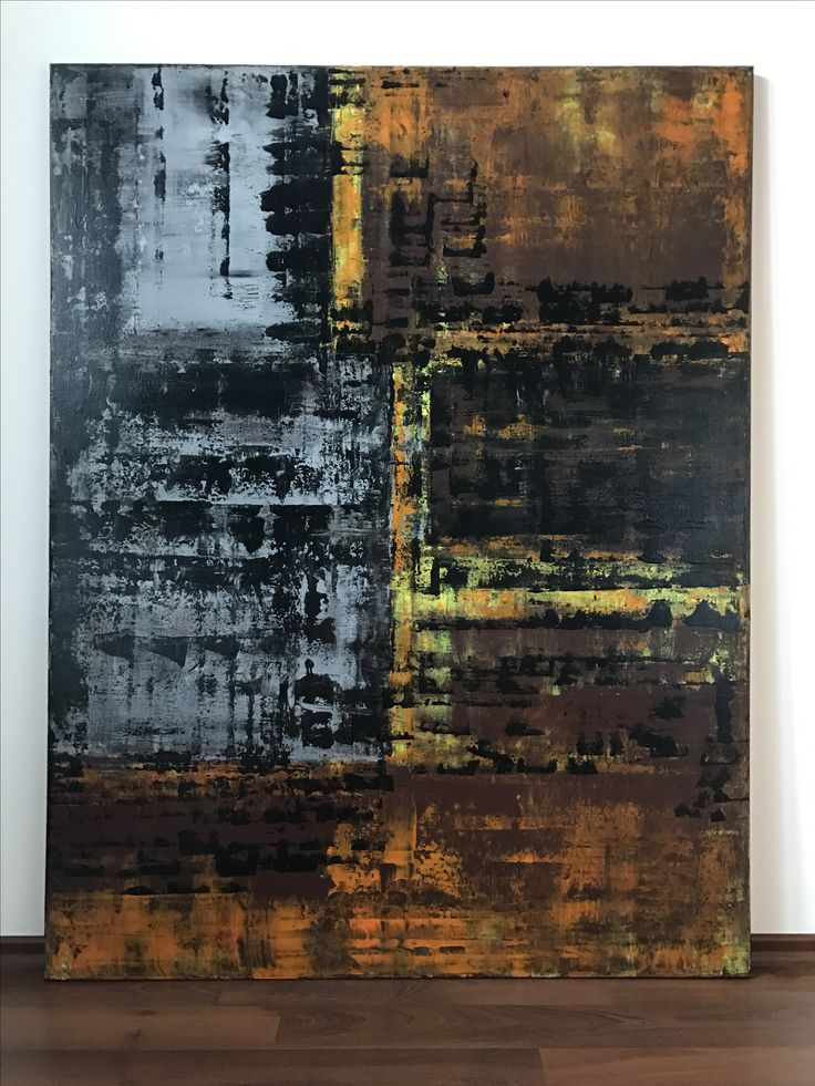 Handmade original contemporary abstract acrylic art on canvas. Painting is dominated by rusty brown, neon yellow, black and grey colours applied in multi layers. Gloss varnished. 130 H x 110 W x 2 cm Ready to hang. Industrial design, modern style.