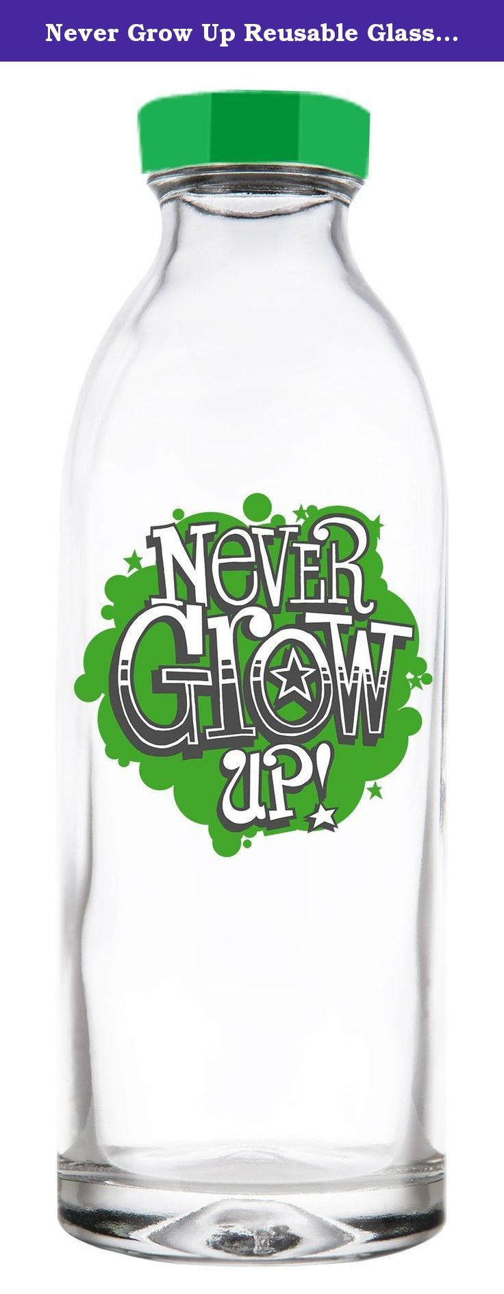 Never Grow Up Reusable Glass Water Bottle By Faucet Face, 14.4 Oz. Get Faucet Face Glass Water Bottles and keep your water tasting fresh! If you aren't familiar with Faucet Face, we sell reusable, ecofriendly glass water bottles. Our bottles save money, won't leach chemicals, offer superior taste, and best of all, are better for the environment. Faucet Face Classic Design bottles come in 3 styles, Tap is Terrific, Hose Water, and Hummingbird Feeder, while the Limited Edition series…