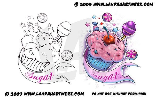 Sugar Cake Tattoo by LandauArtwerx.com, via Flickr: Awesome Tat, Girls Tattoo, Candy Tattoo, Tatt Tattoo, Body Art, Amazing Tattoo, Sugar Cakes, Cakes Tattoo