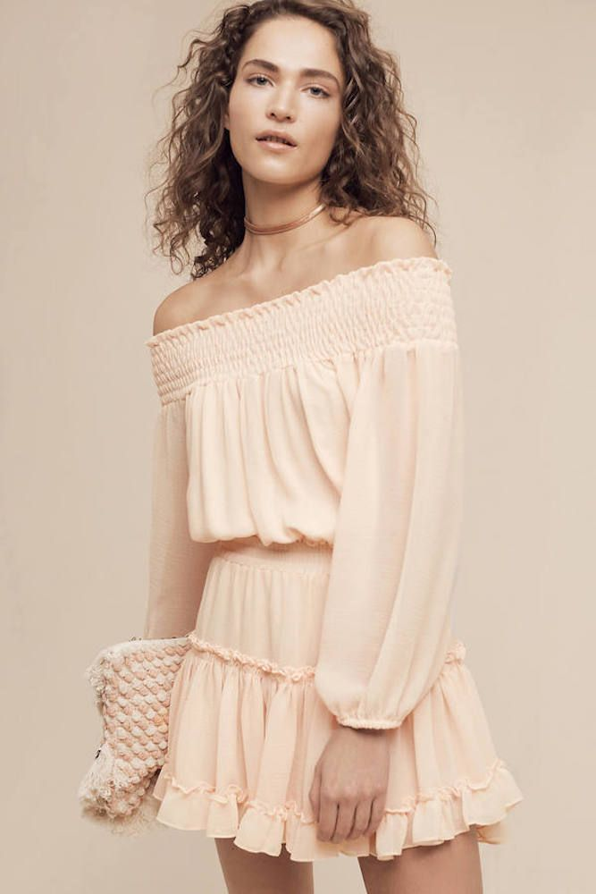 d4ed7301867a MISA LA Cilla L S Off Shoulder Chiffon Ruffle Flirty Mini Dress Beige S   264 B1  MISA  DressAsymmetricalHemBabyDollBallGownBeachDressBlouson   PartyCocktail
