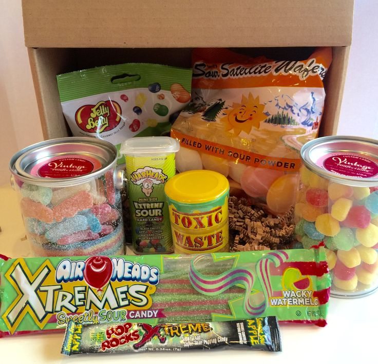 This box will make you pucker just looking at all of the sour we have! This box includes: 3 oz. Jelly Belly Sours 1.23 oz. Sour Satellite Wafers .5 lb. sour patch kids and sour rainbow belts in a tin                                                                                                                                                      More