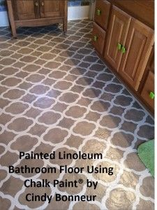 Painted Linoleum Floor using Annie Sloan's Lacquer   via The Purple Painted Lady Chalk .....Paint@ decorative paint by Annie Sloan too!