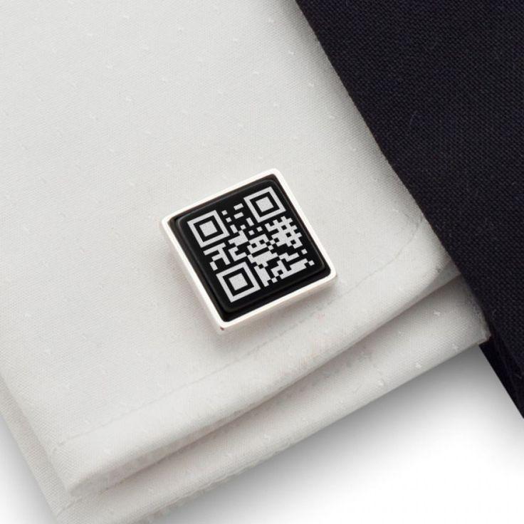 Spinki do mankietów QR kod | Twoja sekretna wiadomość | srebro 925 | Onyks…