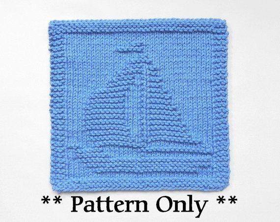 Knit SAILBOAT Pattern - Knit Dish Cloth Pattern, Knit Wash Cloth Pattern, easy knit pattern,  PDF Instant Download, Sailing Decor Gift