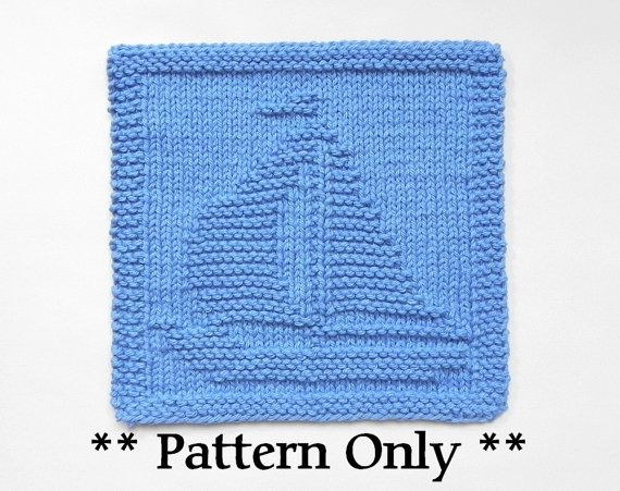 SAILBOAT Knit Pattern -- in English only -- PDF INSTANT DOWNLOAD !  The cloth pictured is NOT included but is what your final product will look