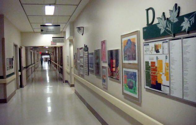 Corridor of Zone D Children's Hospital, London Ontario Canada (LHSC)