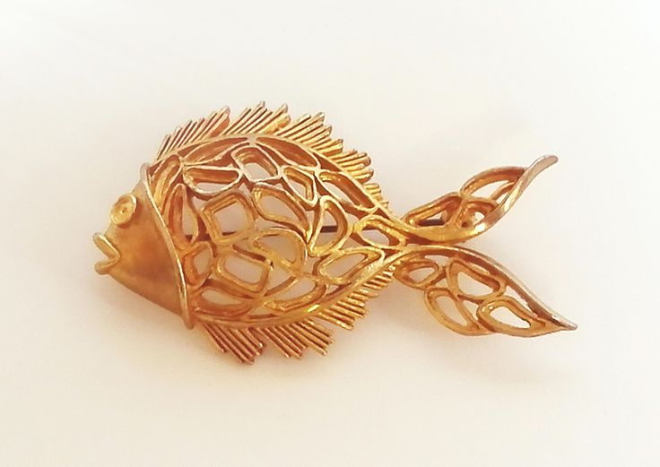 Vintage Fish Brooch Pin - Goldtone 1960s Costume Jewellery -  Open Work - Brooch Pin - Vintage Brooch - Costume Jewelry by AllThoseVintage on Etsy