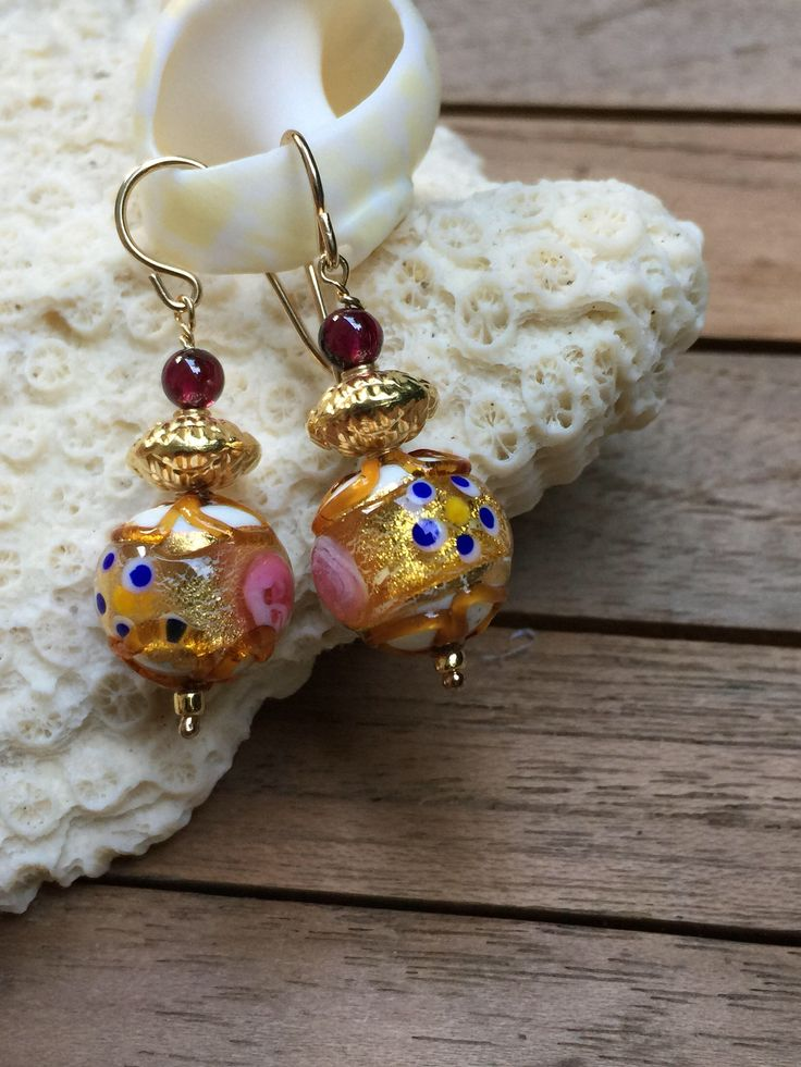 Exquisite Murano Glass earrings with white Fiorato and vermeil beads by MuranoBling on Etsy https://www.etsy.com/au/listing/524931325/exquisite-murano-glass-earrings-with