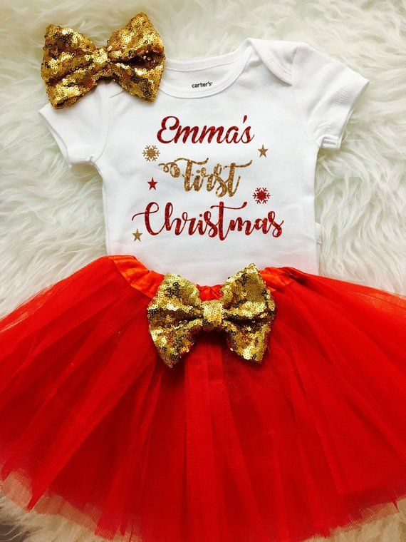 Christmas Outfit,Tutu Baby Girl Outfit Birthday Girl Set Personalized Baby Gift