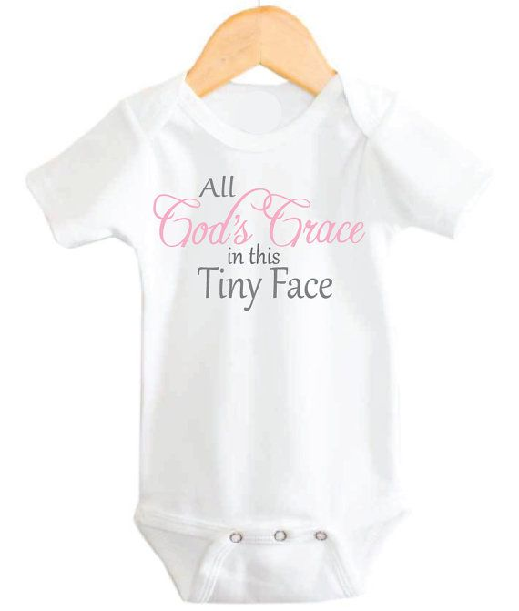 All Gods Grace in the Tiny Face Extremely soft baby onesie- 65% Cotton, 35% Polyester Sizes Include: 0-3 months (5-12 lbs) 3-6 months (13-16 lbs) 6-12 months (17-24 lbs) 12- 18 months (25-27 lbs)  Long Sleeve Bodysuit Comes with Mittens :)  Cute Christian Baby // READY TO SHIP //  THANKS for shopping with us :) Shipping: Your needs are important to us and we want to get your product to you as quickly as possible, your item will be shipped through the USPS, and should arrive within 3-5…