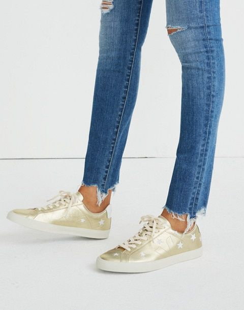d182d6fee1953 Madewell x Veja™ Esplar Low Sneakers in Star-Embroidered Gold Leather in  gold white image 2