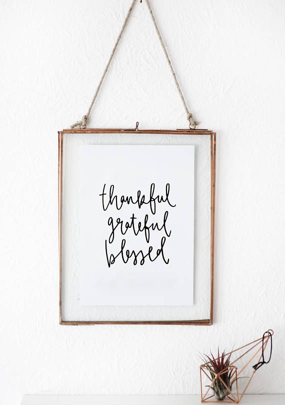 Thankful Grateful Blessed Gratitude Quote A5 Wall Print Etsy Hand Lettering Lettering Inspirational Wall Art Printables