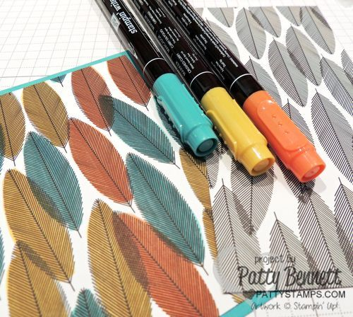 Stampin UP tip: grab Stampin' Write Markers or Blendabilities markers and color on the Back to Black Designer Series Paper (DSP) for a whole new look!Stamps Cards, Feathers Stamps, Stampinup Feathers, Blendabilities Markers, Black And White Dsp Stampin Up, Birthday Cards, Cards Techniques, Blendabilities Stampin Up, Back To Black Stampin Up
