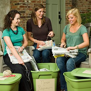 Girls' Night: Girls Gone Green Party | MyRecipes.com | With just a little planning ahead and creativity, you can offset your carbon footprint with a fun night with the girls. Ask guests to save their bottles, magazines, and newspapers, and in between sips of wine, pass around twine for everyone to bundle the papers. Load them into your car to transport to the recycling center the next day.