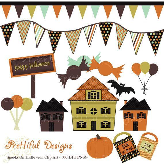 Halloween Clip Art Haunted House Banner Pumpkin Trick or Treat Bag Spooks On Set 1 (380)