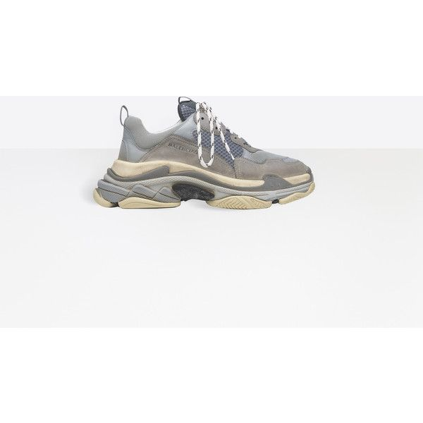 Balenciaga Triple S Trainer ($850) ❤ liked on Polyvore featuring men's fashion, men's shoes, men's sneakers, grey, man shoes triple s shoes, balenciaga mens shoes, colorful mens shoes, mens multi colored shoes, balenciaga mens sneakers and mens black and white shoes