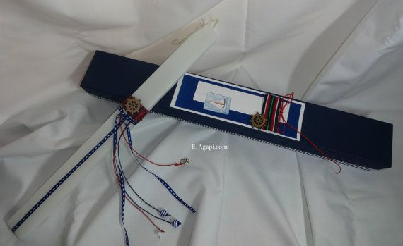 Navy greek easter candle  Marine handmade easter by eAGAPIcom
